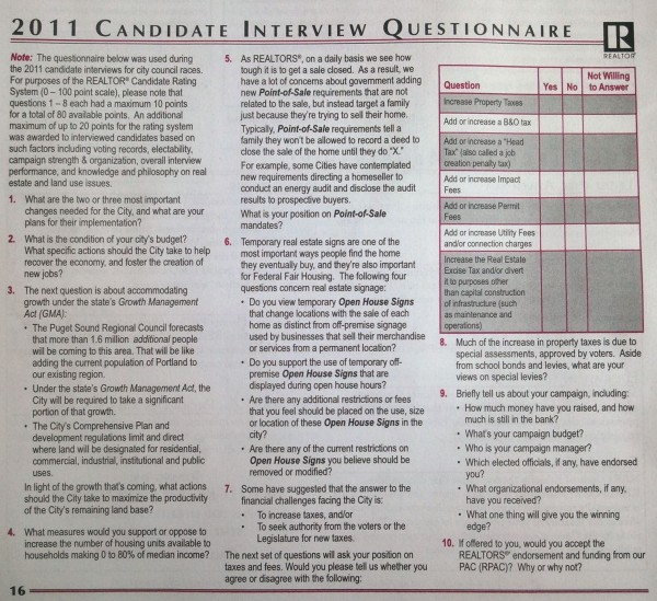 REALTOR 2011 Candidate Interview Questionnaire