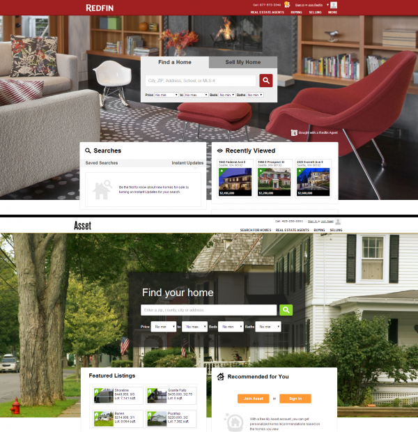 Redfin vs. Asset Realty Home Pages