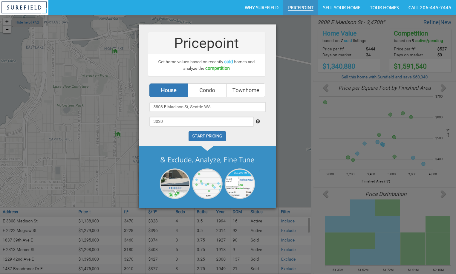 Surefield Pricepoint Home Pricing Tool