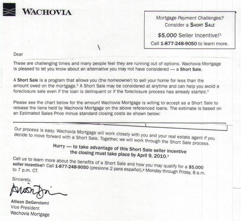 wachovia short sale incentive