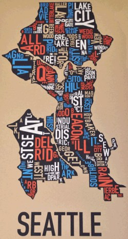 Seattle Neighborhoods Poster by Ork Posters