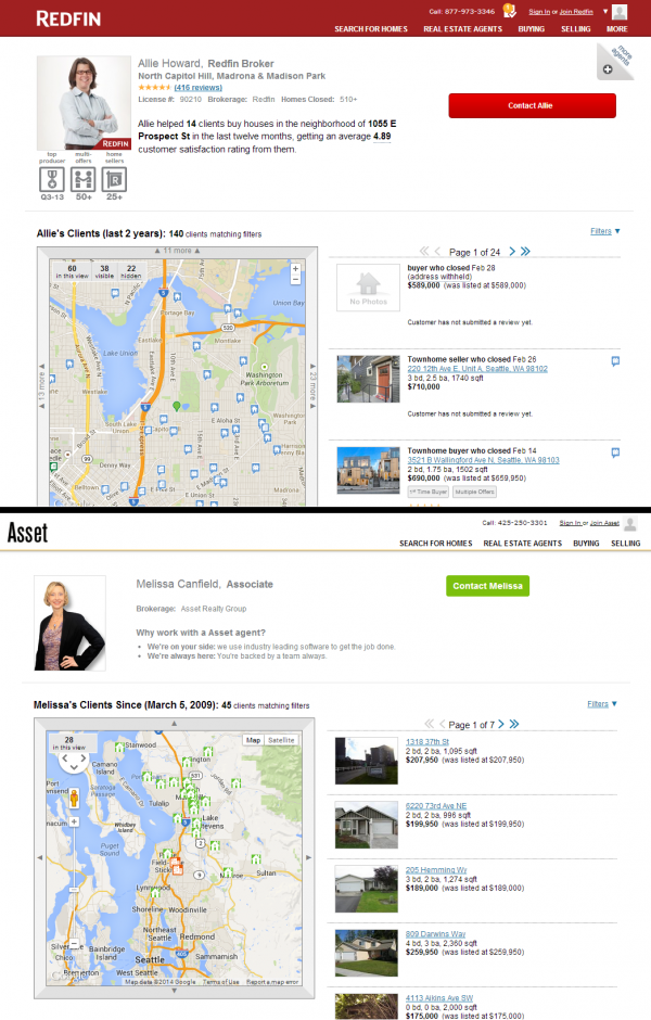 Redfin vs. Asset Realty Agent Pages