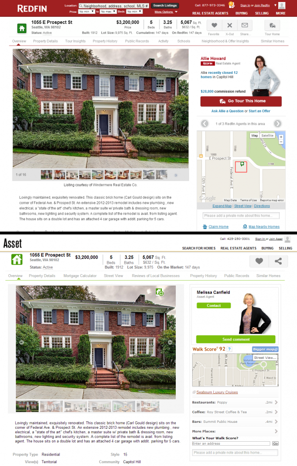 Redfin vs. Asset Realty Listing Pages